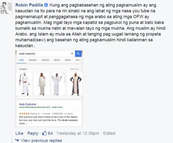 Robin Padilla Statement