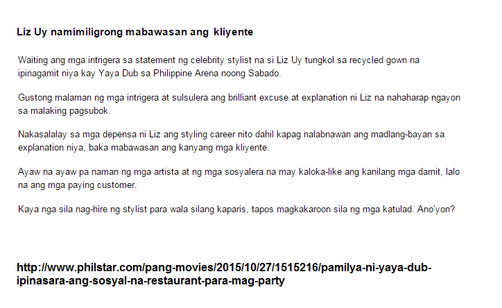 Lolit Solis Also Wrote About Recycled Gown, Should Liz Uy Sue Her?