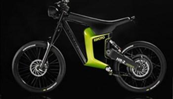 Elmoto HR2, ciclomotor eléctrico, imagen sobre fondo negro