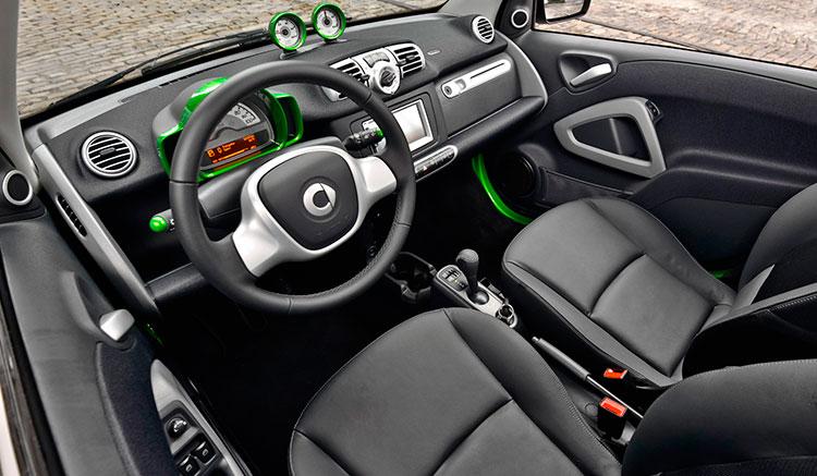 imagen donde podemos ver los interiores del Smart Fortwo Electric Drive, con el panel de mandos ordenador de abordo y asientos.