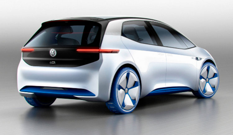 Imagen trasera del Volkswagen I.D. Concept, donde podemos ver el diseño de los pilotos traseros y la forma trasera del vehículo.