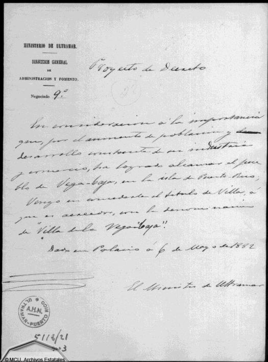 Concesión del título de Villa a Vega-Baja 8
