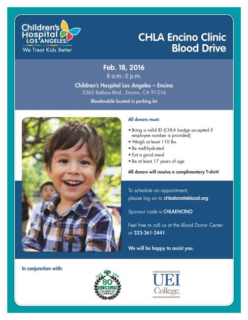 61814 - Flyer with logo - Encino Blood Drive