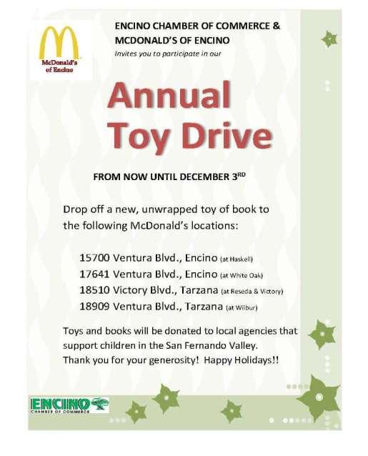 Toy Drive Flier - McDonald's drop offs