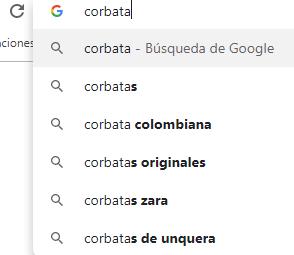 pantallazo de autocompletar de Google para buscar keywords
