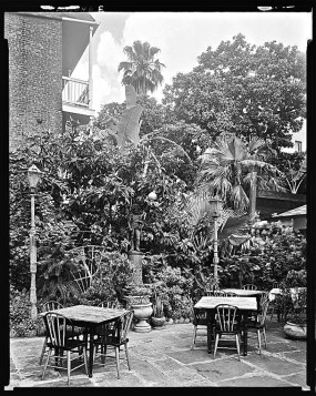 Broussard's patio, 815 Conti Street. All photos are of New Orleans, La., in the late 1930's, via the Library of Congress Prints and Photographs Division.
