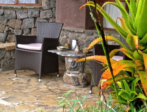 Morning coffee or tea is brought to the cabins at the guests' requested times. Many guests rise at 5 a.m. to hike to see the mountain gorillas on the nearby volcanoes.