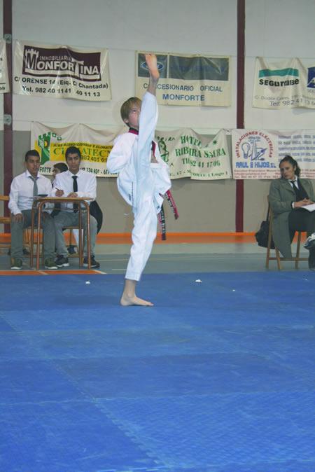 No Campionato provincial de Taekwondo celebrado o día 15 en Monforte puido verse o bo traballo de recoñecidos deportistas, como o vilalbés Gabriel Tembras, campión de España (na foto), e o monfortino Alejandro Fernández, campión de España o pasado ano en categoría benxamín. (Foto cedida).