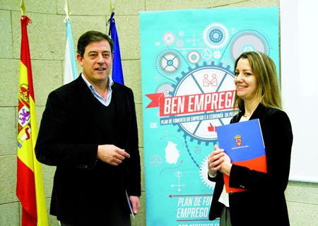 O presidente da Deputación de Lugo, José Ramón Gómez Besteiro, e a vicepresidenta segunda, Lara Méndez, na presentación da 2ª edición do programa Ben Empregado!. GPDL.