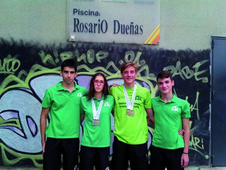 Os catro nadadores do CN Monforte que participaron nas probas do Campionato Galego infantil celebrado en Ourense o 18 e 19 de xullo. (Foto cedida: CN Monforte).