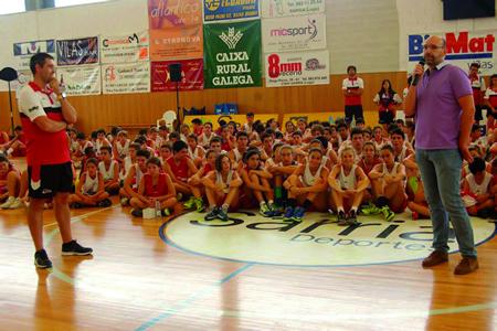 Foto de arquivo do acto de clausura da pasada edición do Campus Baloncesto no Camiño, no pavillón Novo Chanto de Sarria. Arquivo EC