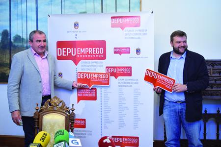 O presidente da Deputación de Lugo, Darío Campos Conde; e o vicepresidente e responsable da área de Emprego, Álvaro Santos Ramos, na presentación do DepuEmprego, o 15 de xullo. GPDL