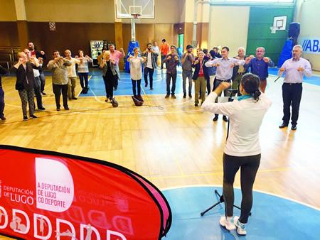 Presentación da nova etapa do programa Movémonos, coa presenza do presidente da Deputación de Lugo, e o deputado de Deportes, xunto ao concelleiro de Deportes de Lugo, no anexo ao Pazo Universitario na capital provincial, o pasado 7 de outubro. GPDL.