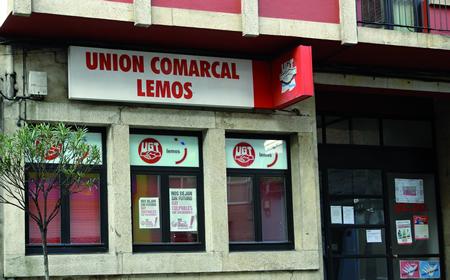 A sede da Unión Comarcal de UGT-Lemos Valdeorras ofrecerá unicamente a asistencia dunha administrativa-secretaria, dependendo da executiva provincial de Lugo. Arquivo EC