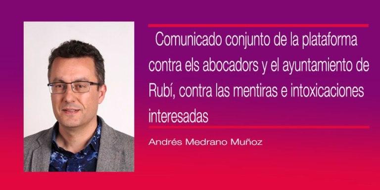COMUNICAT CONJUNT DE L'AJUNTAMENT DE RUBÍ I DE LA PLATAFORMA RUBÍ SENSE ABOCADORS EN RELACIÓ A CAN BALASC