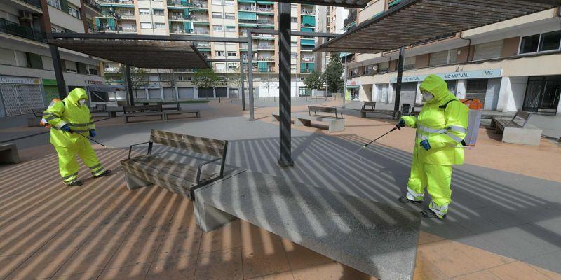 Tasques de neteja especials a la via pública de Rubí per fer front al coronavirus