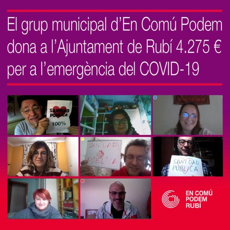 El grup municipal d'En Comú Podem dona a l'Ajuntament 4.275 euros per a l'emergència del COVID-19