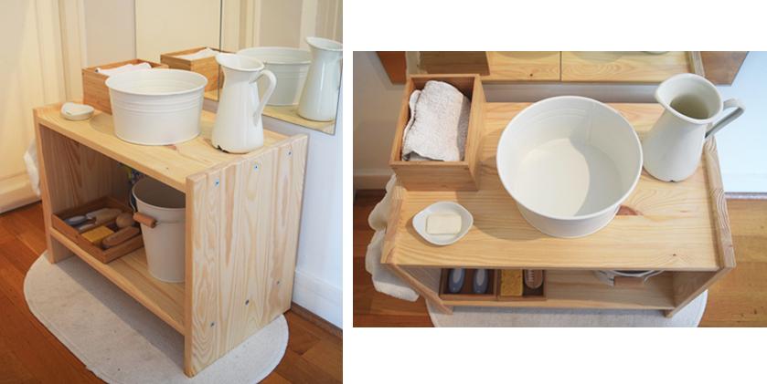 comment cr er un espace salle de bain montessori pour votre enfant. Black Bedroom Furniture Sets. Home Design Ideas