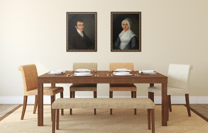 Baltimore Shipowner and his wife, framed canvas prints hanging in a dining room