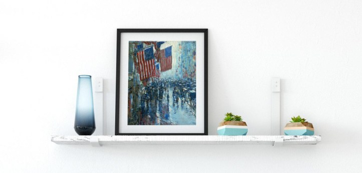 Framed Paper Print of Rainy Day, Fifth Avenue by Childe Hassam