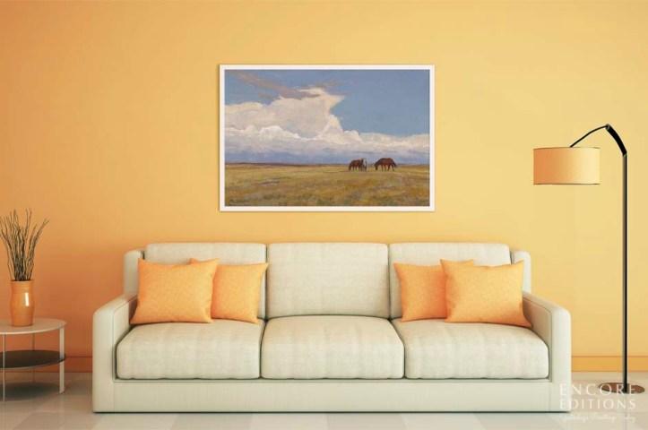 Clouds and Prairie Framed Canvas Print by Maynard Dixon