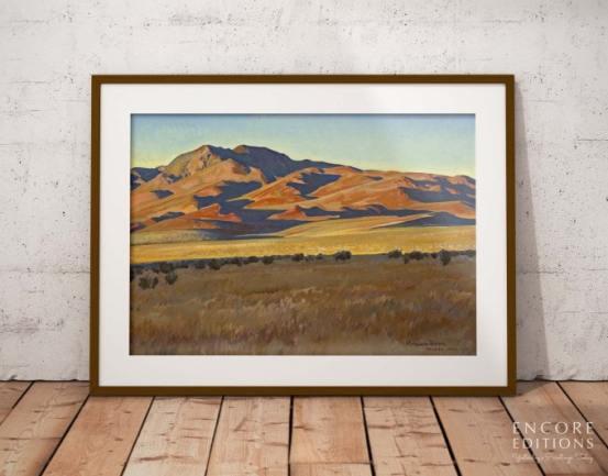 Mountains in Sunset Light Framed Paper Print by Maynard Dixon
