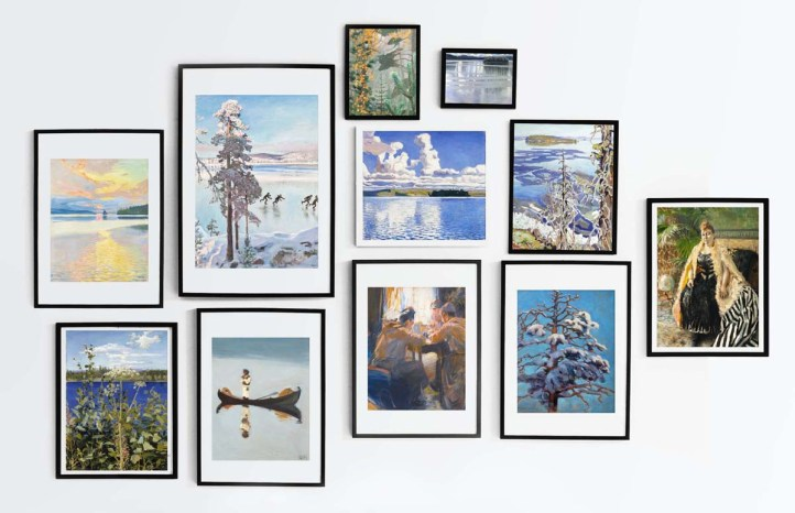 Gallery wall display of a selection of art by Akseli Gallen-Kallela