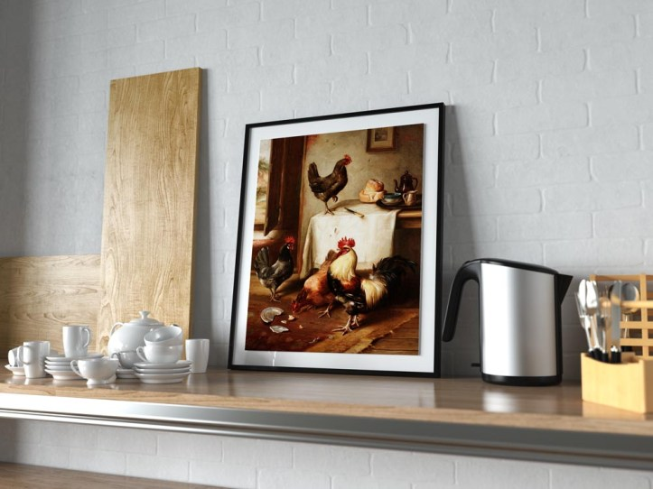 Art print by Edgar Hunt, propped up on a shelf in the kitchen