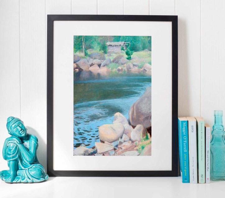 Framed art print with a standard frame but a custom cut mat.