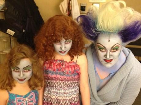 LIZ McCARTNEY with daughters Keira and Megan, in Ursula makeup, of course.