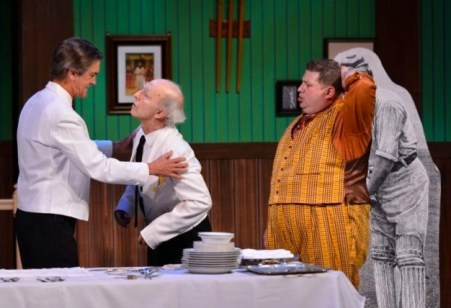 "THE HIGHLY SUCCESSFUL ""One Man, Two Guvnors"" with (from left Chris Kayser, Richard Garner and Aaron Munoz) proved to be the company's final production."