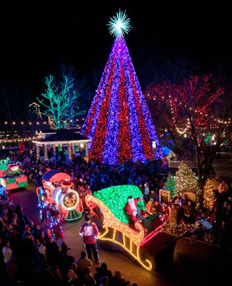 The 21-acre Centennial Olympic Park is festooned with thousands of twinkling lights and a huge Christmas tree. Photo: Red Robin Group