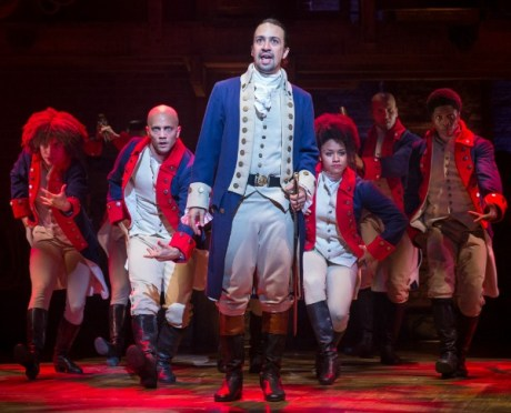 Lin-Manuel Miranda (center) as Alexander Hamilton. Photo by Sara Krulwich/The New York Times