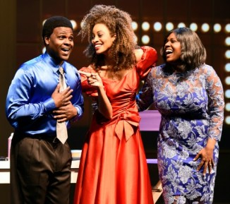 Juan Winans (from left) as BeBe, Kiandra Richardson as Whitney Houston and Deborah Joy Winans as CeCe. Photo: Greg Mooney / Alliance Theatre