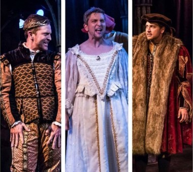 Brian Hatch as (from left) James I, James I again and Henry VIII. Photo: Daniel Parvis, Molly Coyne