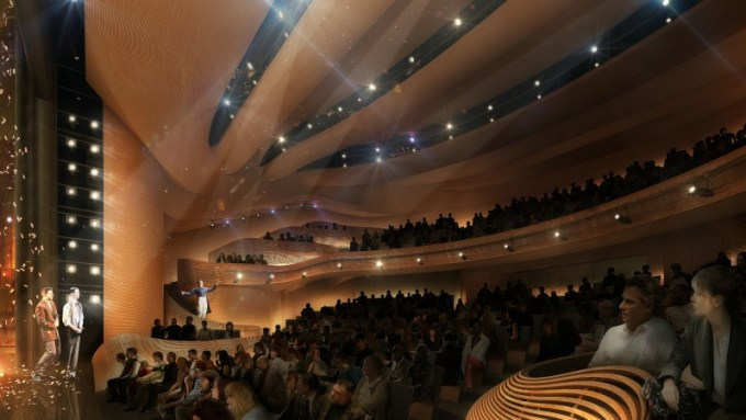 The new Alliance Theatre mainstage will look something like this. Rendering by Trahan Architects