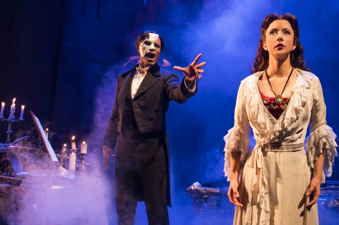 Derrick Davis is the Phantom and Katie Travis is Christine Daaé in this staging, which was created at the 5th Avenue Theatre in Seattle. Photo: Matthew Murphy
