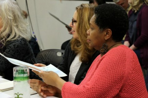 """Day 1 of """"Cinderella and Fella"""" rehearsals with (from left) director Rosemary Newcott, playwright Janece Shaffer and composer S. Renee Clark. Photo: A'riel Tinter"""