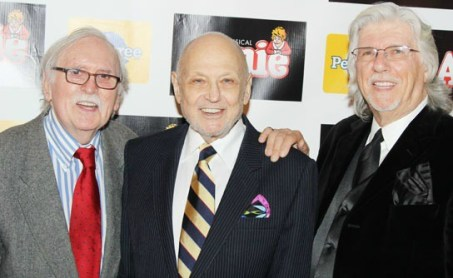 "Annie's ""dads"" (from left) book writer Charles Meehan, xxxx and lyricist Martin Charnin celebrate the Broadway opening of the ""Annie"" revival in 2012."