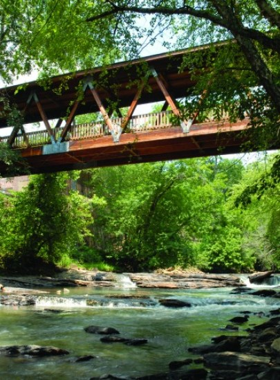 The covered bridge at Old Mill Park. Photo: Roswell CVB