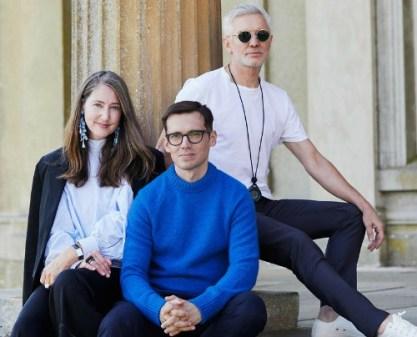 H&M creative adviser Ann-Sofie Johansson (from left), designer Erdem mmmmm and filmmaker Baz Luhrmann on the video set in England.