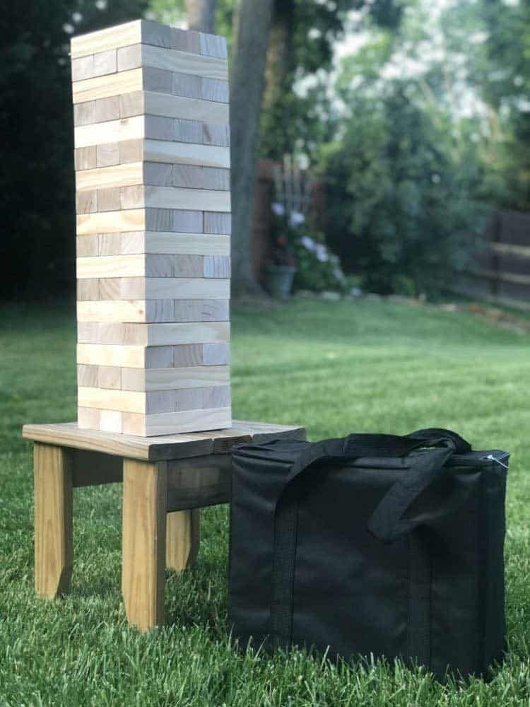 giant jenga tumbling tower