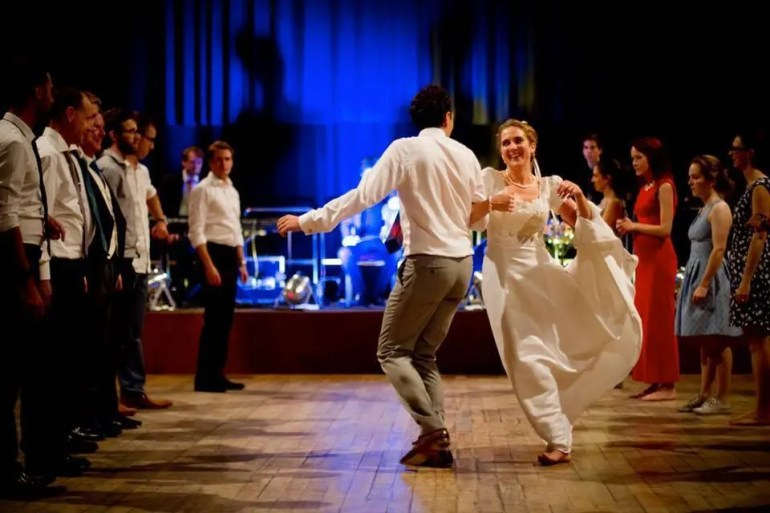 Couple dancing at ceilidh