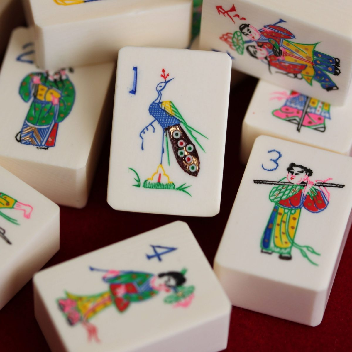 Mahjong Tiles with elaborate, colorful design