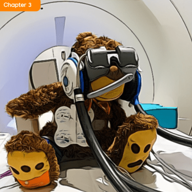 Teddy with VR Goggles in MRI
