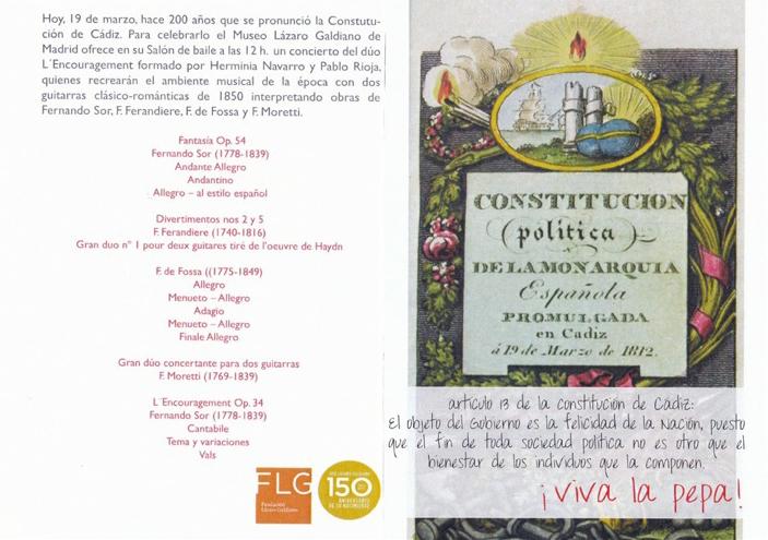 Concierto conmemorativo del Bicentenario de la Constitución de 1812