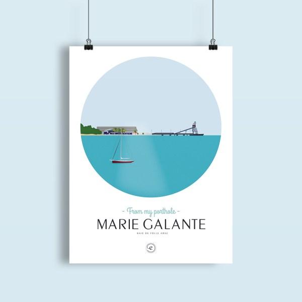 affiche Marie-Galante, un voilier à l'ancre dans la baie de folle anse avec le terminal sucrier au loin