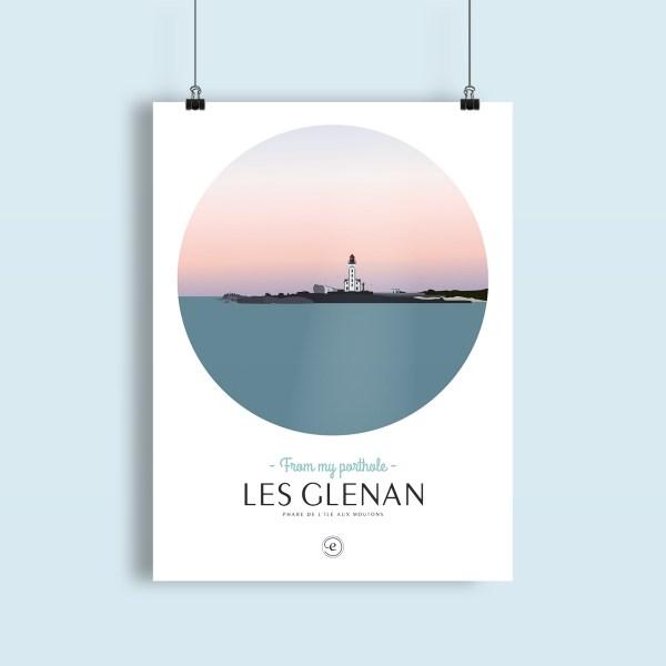 affiche phare de l'ile aux moutons dans l'archipel des glenans, paysage depuis la mer