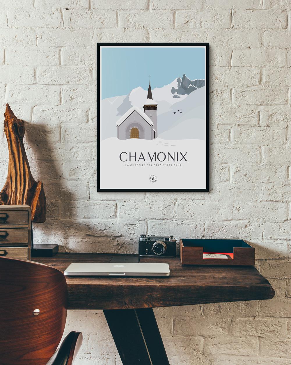 Affiche Chamonix les Drus en déco dans un bureau