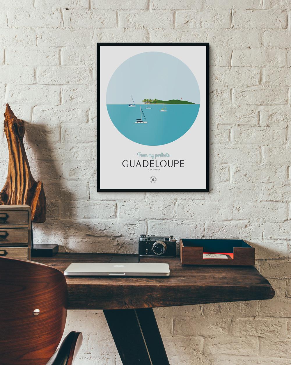 Affiche Guadeloupe en déco dans un bureau